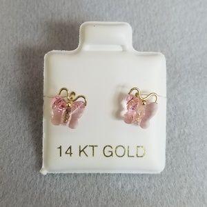 Jewelry - 14k Gold Cz Butterfly Earrings.